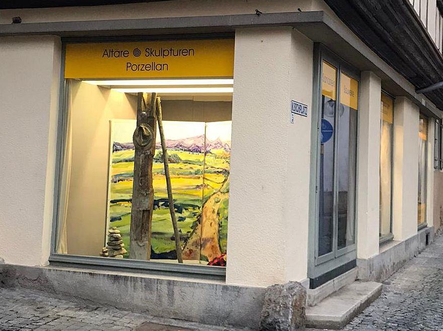 Schaufenster-Ausstellung Camino del arte Restaurator Hub