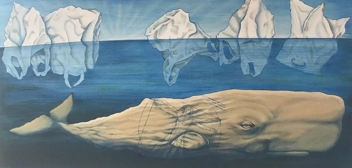 Wal mit Eisbergen